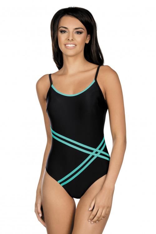 Dámské jednodílné plavky Stripes černé - černá