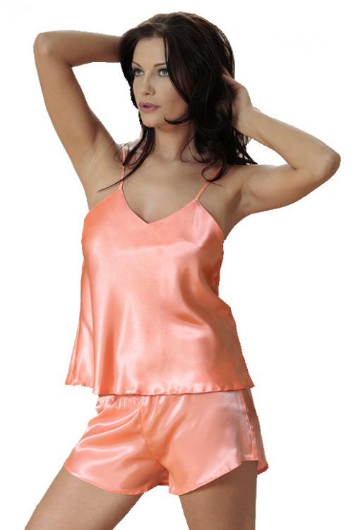 Dámské saténové pyžamo Karen oranžové - oranžová
