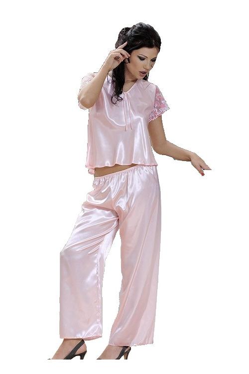 Saténové pyžamo Ewa růžové - růžová