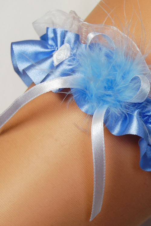 Podvazek Enjoy Marabut modrý - modrá