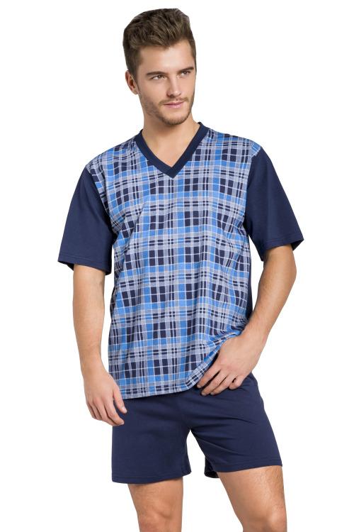 Pánské pyžamo Roman tmavě modré krátké nadměrná velikost - modrá