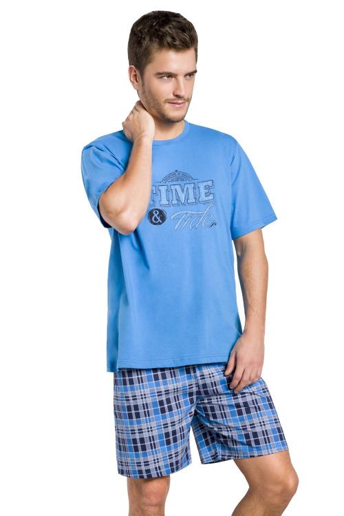 Pánské pyžamo Nick modré krátké - modrá