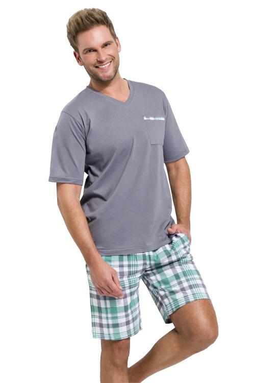 Pánské pyžamo Timon tmavě šedé krátké - šedá