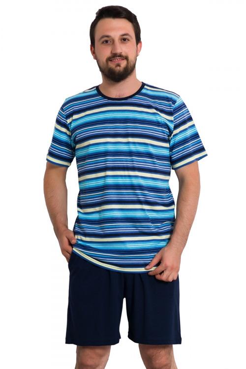 Pánské pyžamo Neep proužkované - modrá